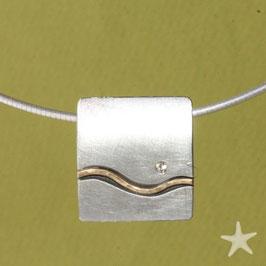 Anhänger, Wattenmeer und Priel, Brillant, Silber, Gold