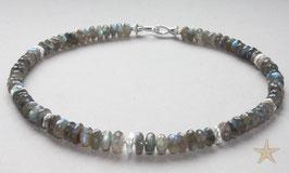 Edelsteinkette, Labradorit, große facettierte Linsen ,925 Silber
