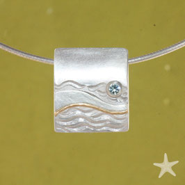 Anhänger, bewegte See, Aquamarin, Silber, Gold