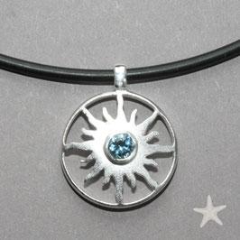 kleiner Sonnenanhänger mit Aquamarin, 925 Silber