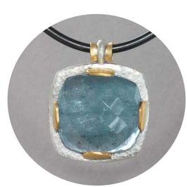 Anhänger mit Aquamarin in antikem Schliff, Unikat,Silber mit Gold