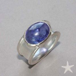 Unikat Ring handgefertigt mit Tansanit , in 925 Silber