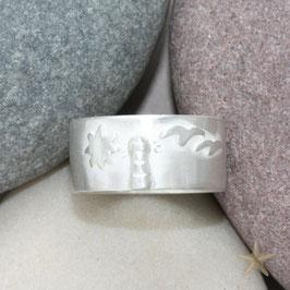Moin Moin, Ring mit Leuchtturm und Möwen, Sonne, 10mm breit