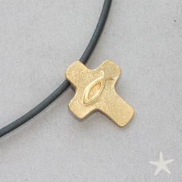 Anhänger Kreuz, mit Ichthys, 925Silber goldplattiert/ klein