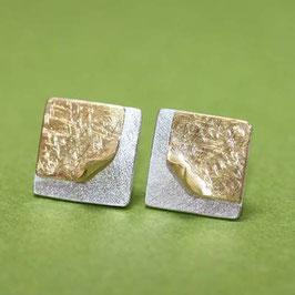 Ohrstecker zwei Quadrate,11mm