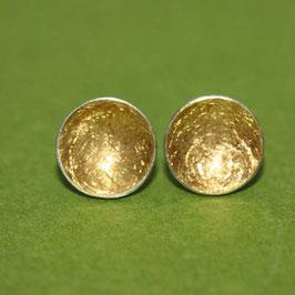Ohrstecker Schalen,Gold, Silber, 9mm