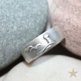 Maritimer Ring, maritime Motive, Leuchtturm, Möwe, Silber , 8,5mm breit
