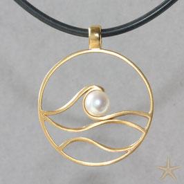 Wellen Anhänger mit Perle, 3,2cm, Maritimer Anhänger, Silber