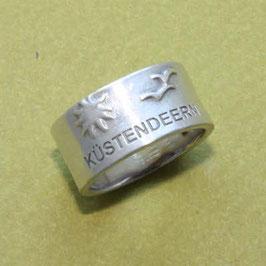 Moin Moin Ring mit Möwen, Sonne und Küstendeern, 10mm breit