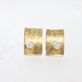 Ohrstecker ,eckige Form mit Perlen