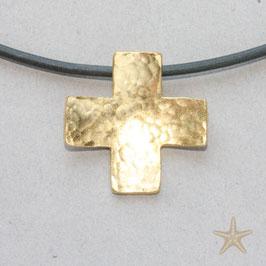 Kreuzanhänger, 2,1cm, gleichschenklig, gehämmert, goldplattiert