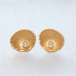 Muschel mit Perle,Silber vergoldet,12mm