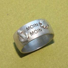 Moin Moin Ring mit Anker, Sonne gerundete Form, 10mm breit