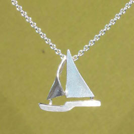 Seegelboot Anhänger,freie Form, Silber