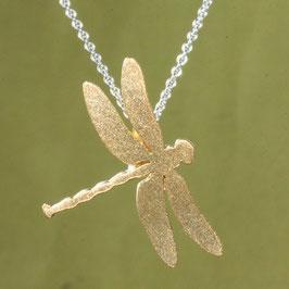 großer Libellen Anhänger in Silber vergoldet