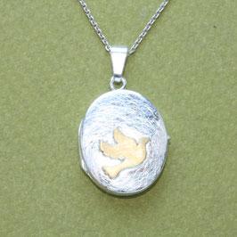 Medaillon oval 2cm, mit Taube ,Silber