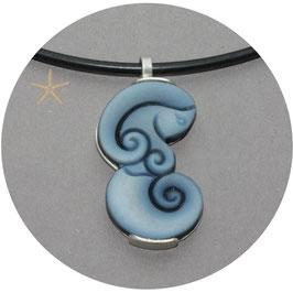 Unikat, Anhänger Lagenachat als Meerjungfrau geschliffen, Silber