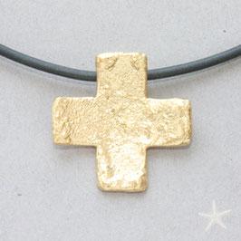 Kreuzanhänger, 2,1cm, gleichschenklig, strukturiert goldplattiert