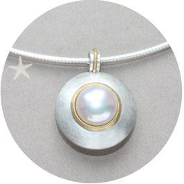 Unikat Anhänger mit Perle, Silber, Gold,