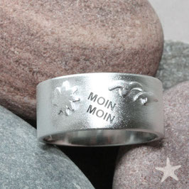 Moin Moin Ring mit Sonne und Möwen ,11mm breit