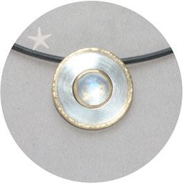 Unikat Anhänger, Mondstein, Silber und Gold