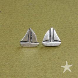 Ohrstecker Segelschiffe,  Silber, 0,7cm