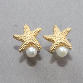 Seesterne mit Perle, goldplattiert  925/Silber,10mm