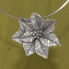 Weihnachtsstern, Blüten Anhänger Silber