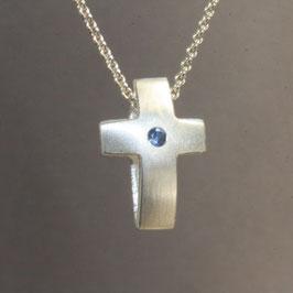 Anhänger Kreuz, Safir, schlicht, doppelt ,klein,