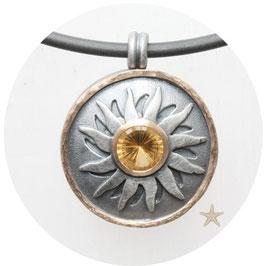 Unikat Anhänger, Sonnenanhänger Citrin, 925 Silber, 585 Rosegold