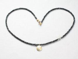 Edelsteinkette, schwarzer Spinell mit kleiner Sonne in Gold und Brillant