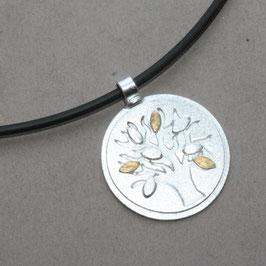Anhänger Lebensbaum, 2,3cm, Silber und  3 Goldblätter