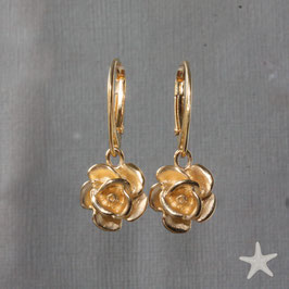Ohrhänger Rosen goldplattiert,12mm
