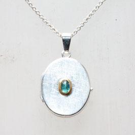 Medaillon oval 2cm, mit blauem Turmalin, Silber,Gold