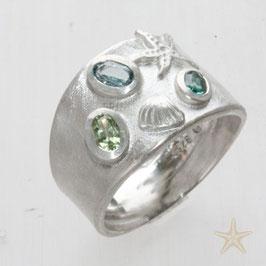 Unikat Ring, handgefertigt ,Muschel und meeresfarbende Turmaline, Silber,Gold
