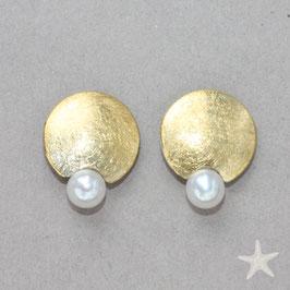 Scheiben Ohrstecker mit Perlentropfen,11mm