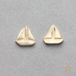 Ohrstecker Segelschiffe,  Silber Goldplattiert, 0,7cm