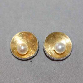 Ohrstecker Schälchen mit Perle,8mm