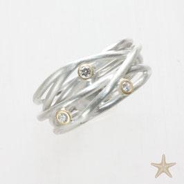 Unikat Ring, handgefertigt , Brillanten, Silber/Gold