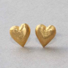 Ohrstecker Herzen vergoldet, 8x7mm, 925 Silber