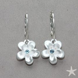 Blume Ohrhänger,  Aquamarin, 13mm Blüte,