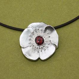 Mohnblüten Anhänger, klein 925 Silber 2,6cm