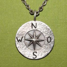 Koordinatenkreuz mit gehämmerten Rand, 925 Silber