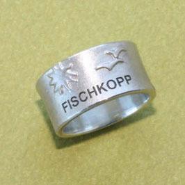 Moin Moin Ring mit Möwen, Sonne und Fischkopp, 10mm breit