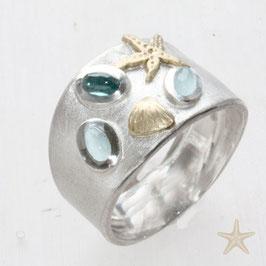 Unikat Ring, handgefertigt ,Muschel und meeresfarbende Turmaline, Silber, Gold