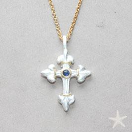 fanzösisches Lilien Kreuz mit Saphir