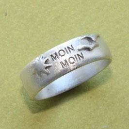 Moin Moin Ring mit Möwen und Sonne,  8mm breit