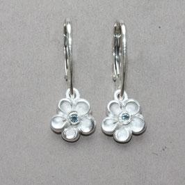 Blume Ohrhänger,  Aquamarin, 12mm