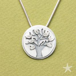Anhänger Lebensbaum, 2,4cm, Silber und Silberblätter