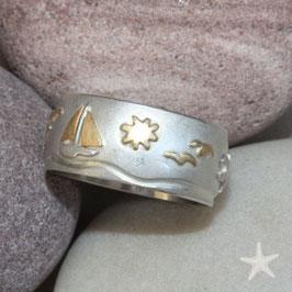 Maritimer Ring, maritime Motive Silber/Gold ,12mm breit